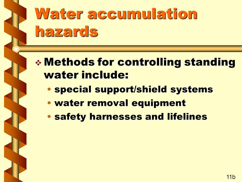 Water accumulation hazards v Methods for controlling standing water include: special support/shield systemsspecial support/shield systems water remova