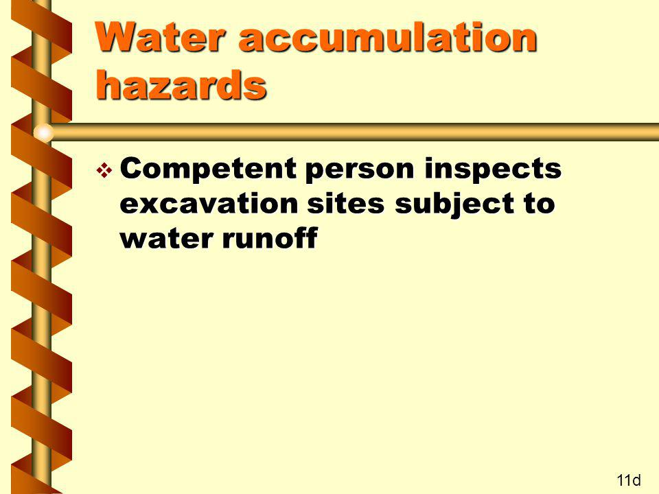 Water accumulation hazards v Competent person inspects excavation sites subject to water runoff 11d