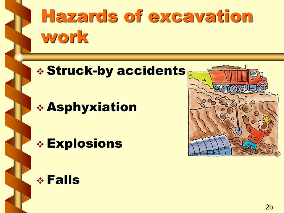 Hazards of excavation work v Struck-by accidents v Asphyxiation v Explosions v Falls 2b