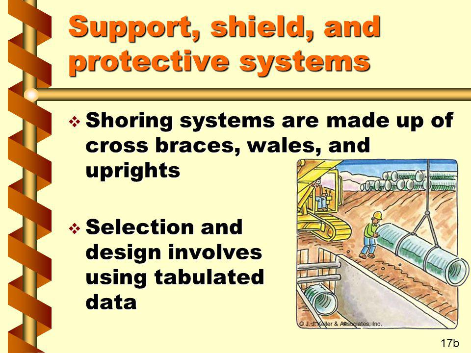 Support, shield, and protective systems v Shoring systems are made up of cross braces, wales, and uprights v Selection and design involves using tabul