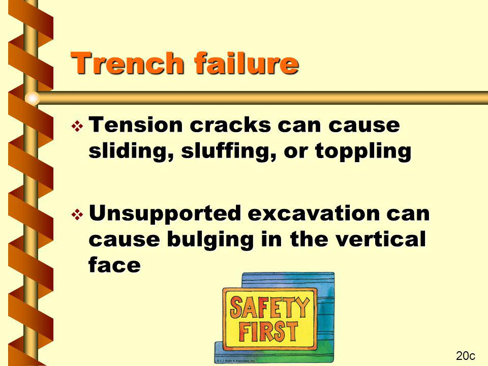 Trench failure v Tension cracks can cause sliding, sluffing, or toppling v Unsupported excavation can cause bulging in the vertical face 20c