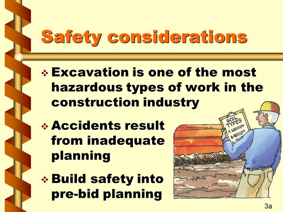 Safety considerations v Excavation is one of the most hazardous types of work in the construction industry v Accidents result from inadequate planning