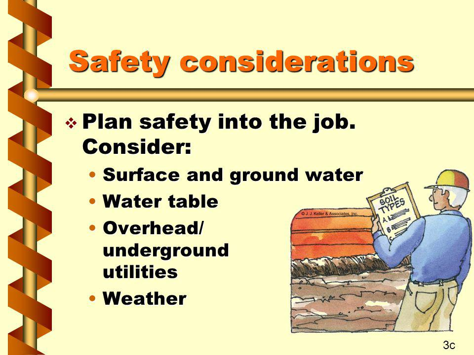 Safety considerations v Plan safety into the job. Consider: Surface and ground waterSurface and ground water Water tableWater table Overhead/ undergro