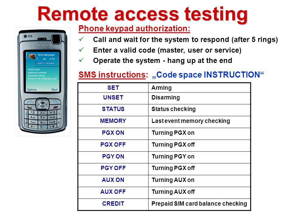 Communicator test Both buttons PANIC Panic alarm SMS Result: Function test Knowing the SIM card tel. number