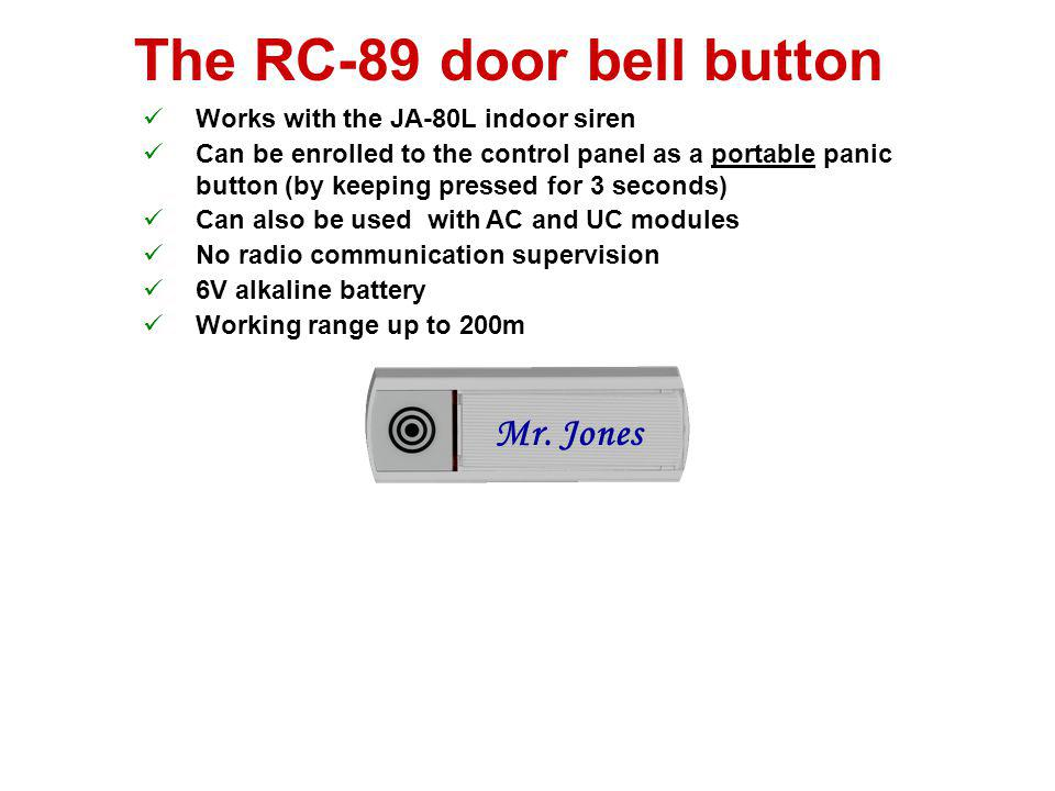 The RC-88 button DIP switches: Panic (remote control or panic button function) TMP (disable tamper sensors and communication supervision) Can also be