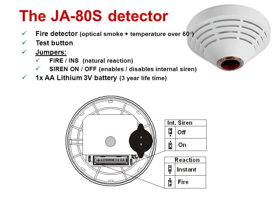 The JA-80M detector Magnetic door / window detector Status detector DIP switches: DEL / INS (natural reaction) MG ON / MG OFF (enables/disables intern