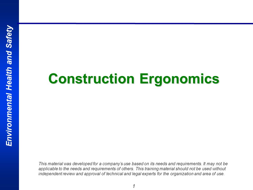 Environmental Health and Safety 2 Outline Review Basic Ergonomics Principles What is ergonomics.