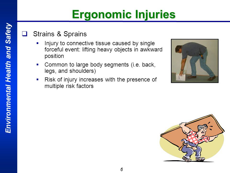 Environmental Health and Safety 6 Ergonomic Injuries Strains & Sprains Injury to connective tissue caused by single forceful event: lifting heavy obje