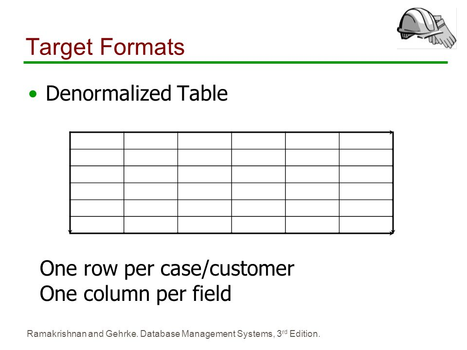 Ramakrishnan and Gehrke. Database Management Systems, 3 rd Edition. Target Formats Denormalized Table One row per case/customer One column per field