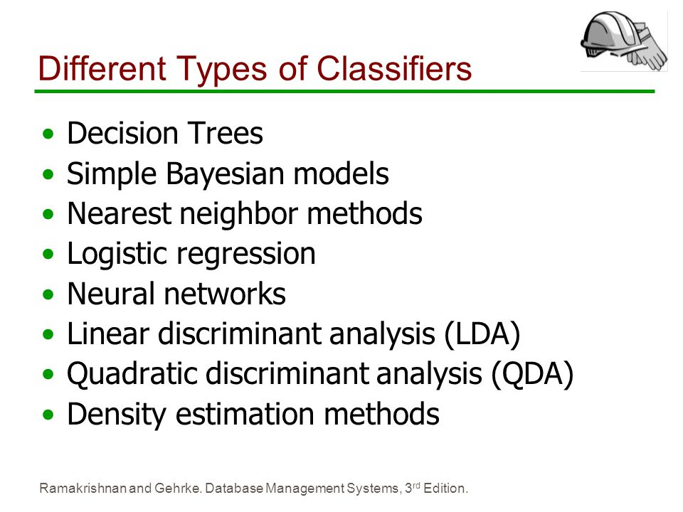 Ramakrishnan and Gehrke. Database Management Systems, 3 rd Edition. Different Types of Classifiers Decision Trees Simple Bayesian models Nearest neigh