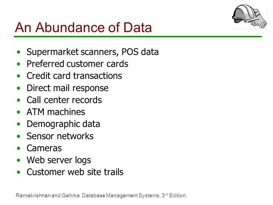 Ramakrishnan and Gehrke. Database Management Systems, 3 rd Edition. An Abundance of Data Supermarket scanners, POS data Preferred customer cards Credi