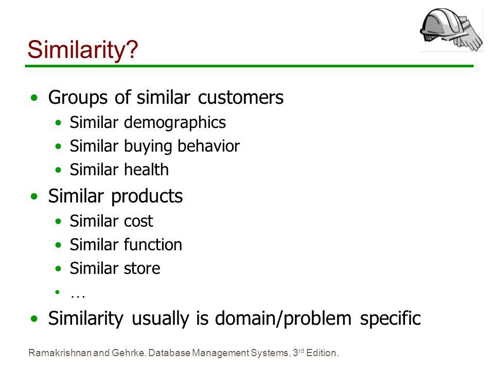 Ramakrishnan and Gehrke. Database Management Systems, 3 rd Edition. Similarity? Groups of similar customers Similar demographics Similar buying behavi