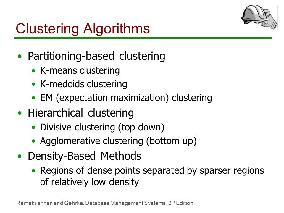 Ramakrishnan and Gehrke. Database Management Systems, 3 rd Edition. Clustering Algorithms Partitioning-based clustering K-means clustering K-medoids c