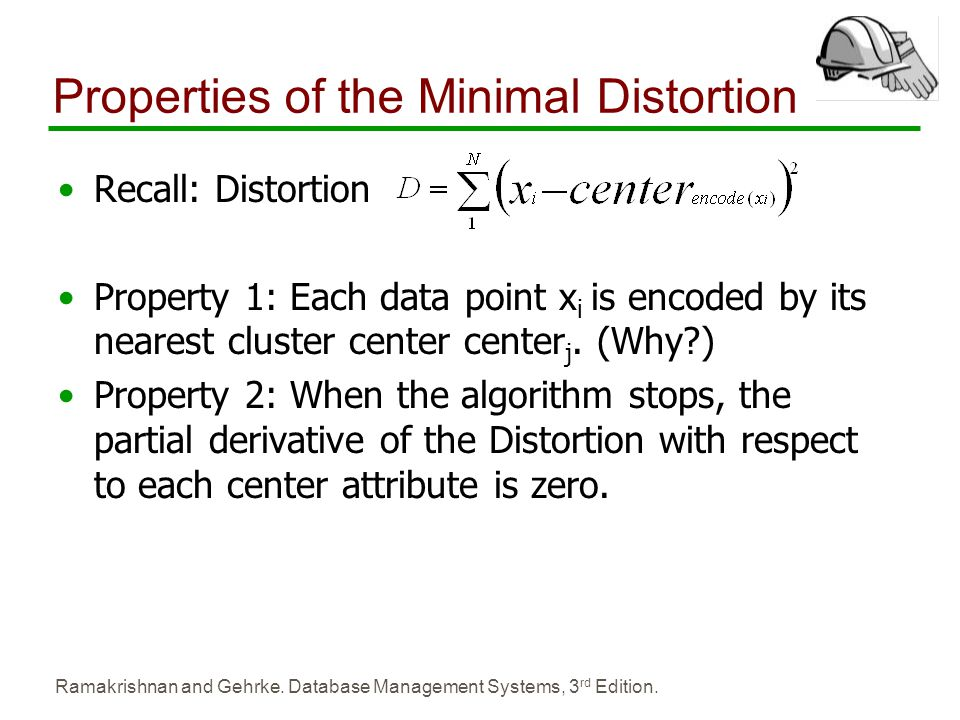 Ramakrishnan and Gehrke. Database Management Systems, 3 rd Edition. Properties of the Minimal Distortion Recall: Distortion Property 1: Each data poin