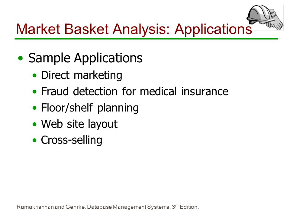 Ramakrishnan and Gehrke. Database Management Systems, 3 rd Edition. Market Basket Analysis: Applications Sample Applications Direct marketing Fraud de