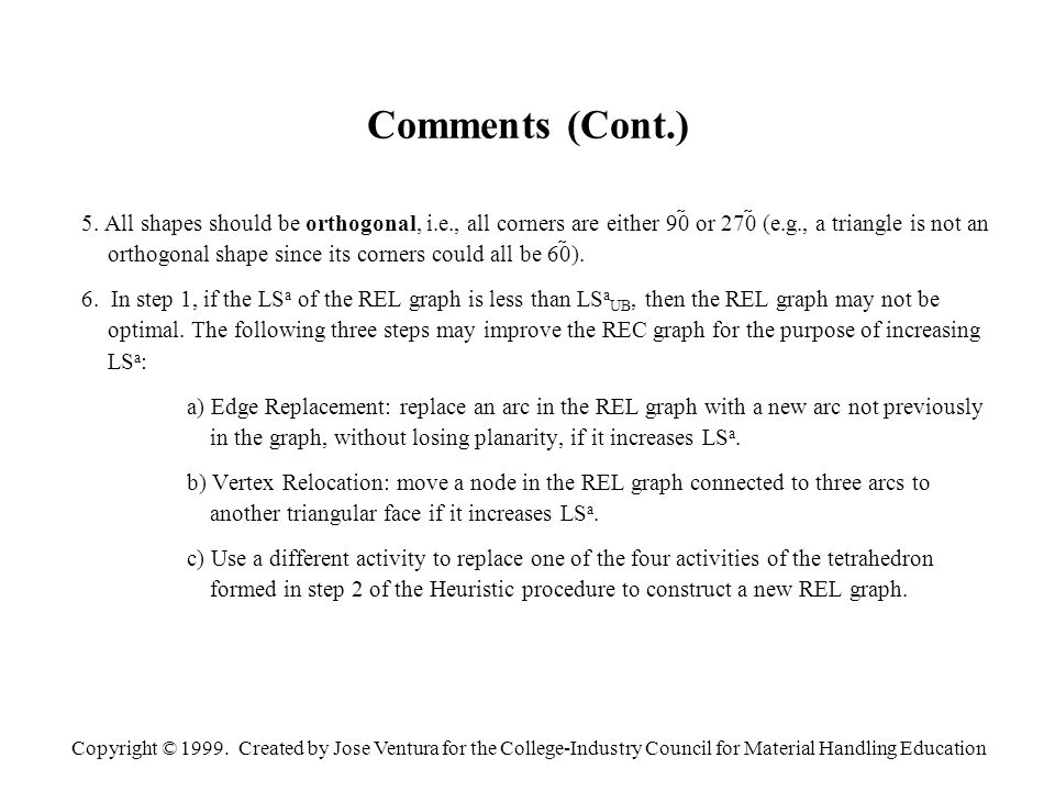 Copyright © 1999. Created by Jose Ventura for the College-Industry Council for Material Handling Education Comments (Cont.) 5. All shapes should be or