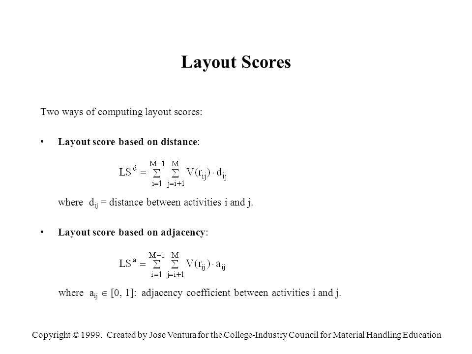 Copyright © 1999. Created by Jose Ventura for the College-Industry Council for Material Handling Education Layout Scores Two ways of computing layout
