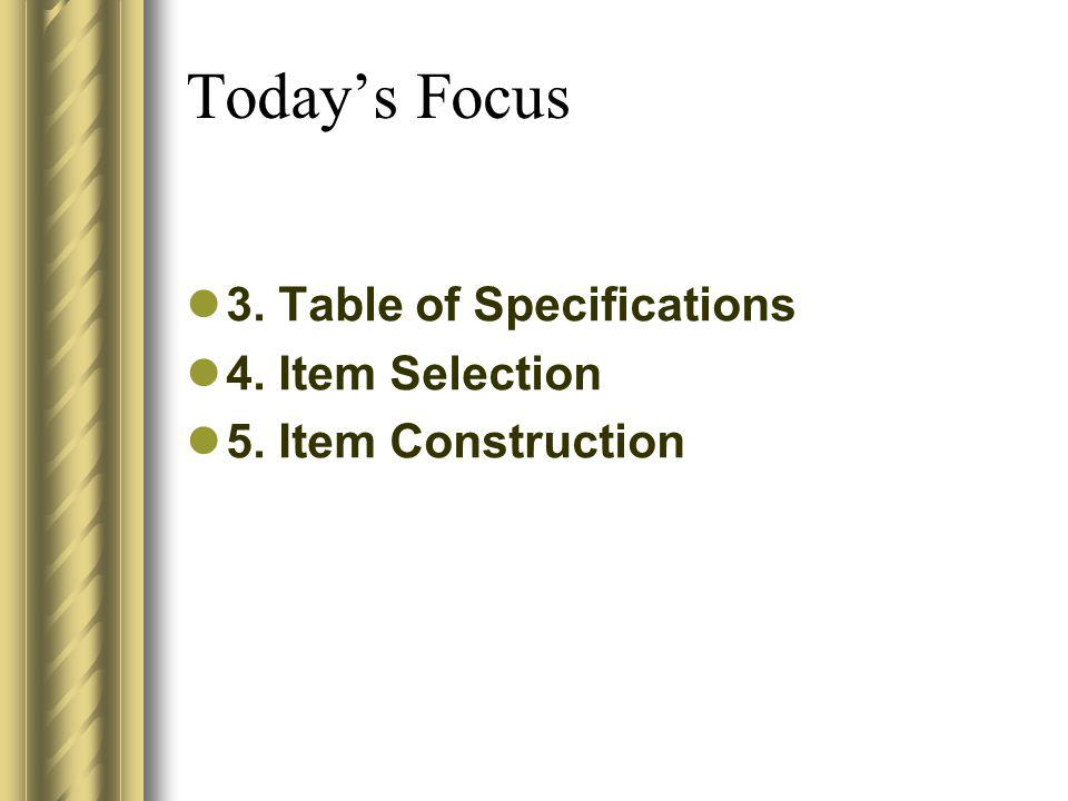 Todays Focus 3. Table of Specifications 4. Item Selection 5. Item Construction
