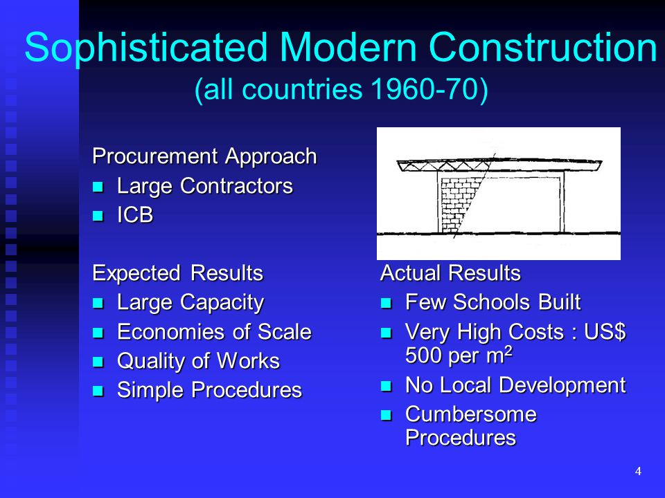 4 Sophisticated Modern Construction (all countries 1960-70) Procurement Approach Large Contractors Large Contractors ICB ICB Expected Results Large Capacity Large Capacity Economies of Scale Economies of Scale Quality of Works Quality of Works Simple Procedures Simple Procedures Actual Results Few Schools Built Very High Costs : US$ 500 per m 2 No Local Development Cumbersome Procedures