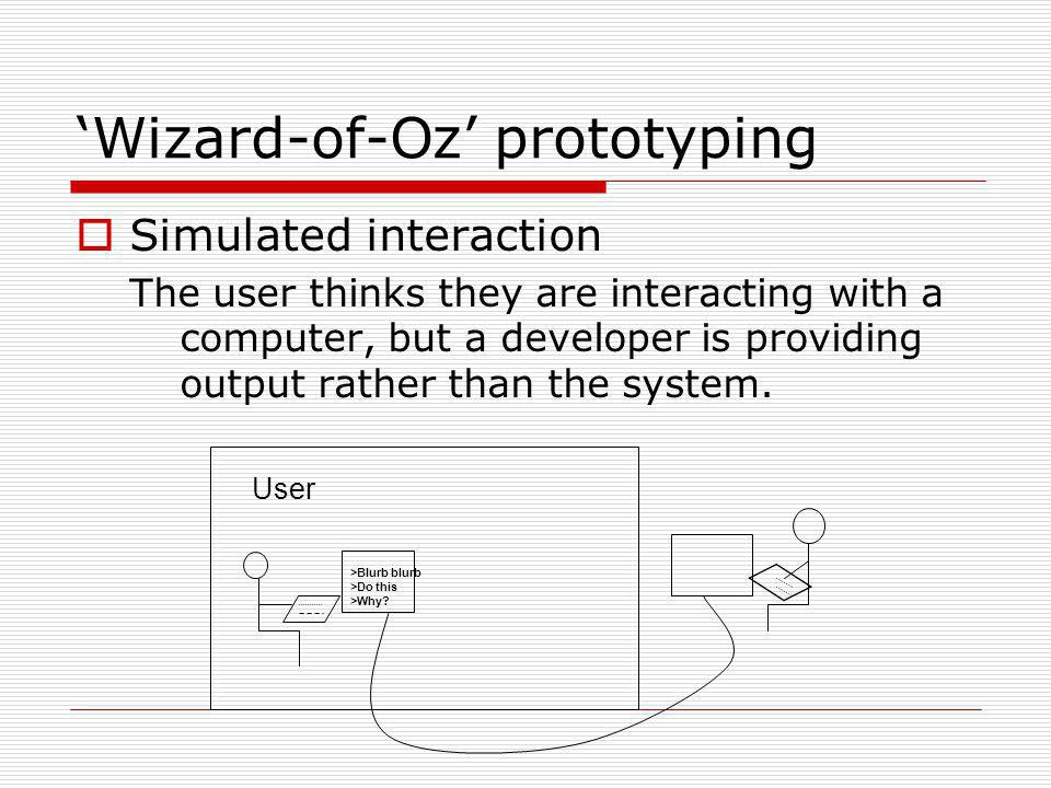 Wizard-of-Oz prototyping Simulated interaction The user thinks they are interacting with a computer, but a developer is providing output rather than t