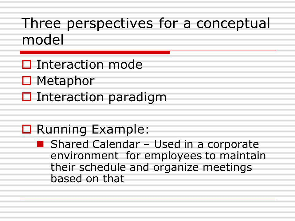 Three perspectives for a conceptual model Interaction mode Metaphor Interaction paradigm Running Example: Shared Calendar – Used in a corporate enviro