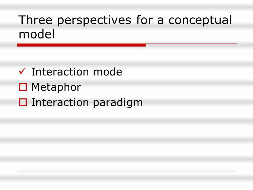 Three perspectives for a conceptual model Interaction mode Metaphor Interaction paradigm