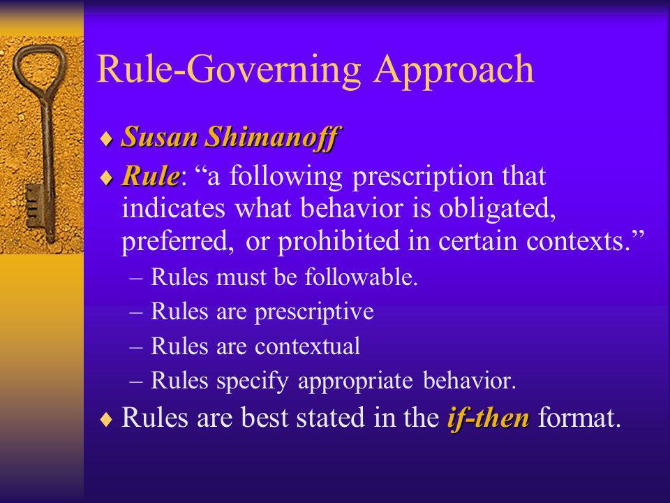 Rule-Governing Approach Susan Shimanoff Susan Shimanoff Rule Rule: a following prescription that indicates what behavior is obligated, preferred, or p