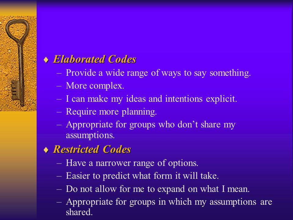 Elaborated Codes Elaborated Codes –Provide a wide range of ways to say something. –More complex. –I can make my ideas and intentions explicit. –Requir