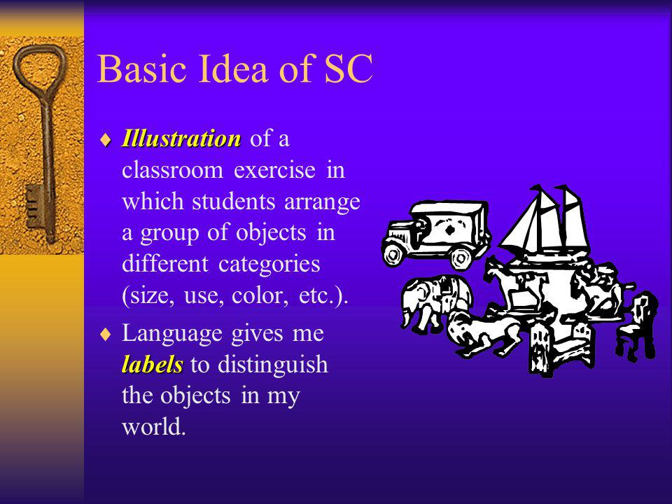 Basic Idea of SC Illustration Illustration of a classroom exercise in which students arrange a group of objects in different categories (size, use, co