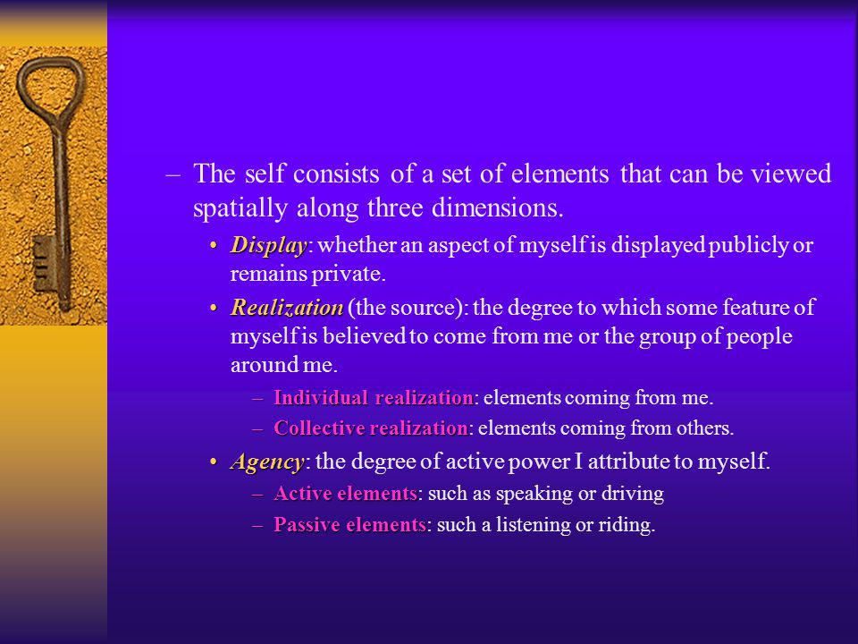 –Common elements in theories of the self: Self-consciousnessSelf-consciousness: –I think of myself as an object.