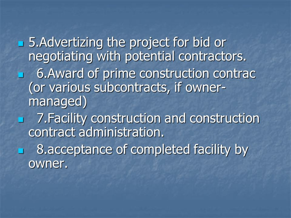 5.Advertizing the project for bid or negotiating with potential contractors. 5.Advertizing the project for bid or negotiating with potential contracto