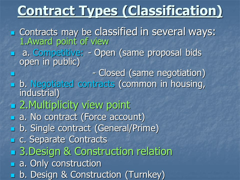 Contract Types (Classification) Contracts may be classified in several ways: 1.Award point of view Contracts may be classified in several ways: 1.Awar