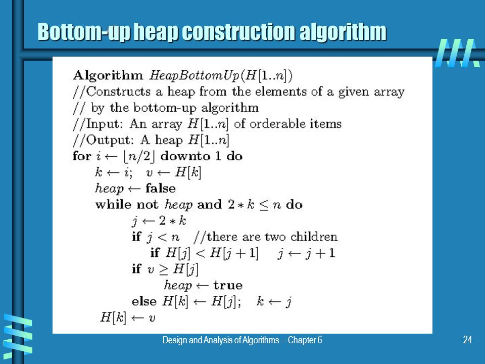 Design and Analysis of Algorithms – Chapter 624 Bottom-up heap construction algorithm
