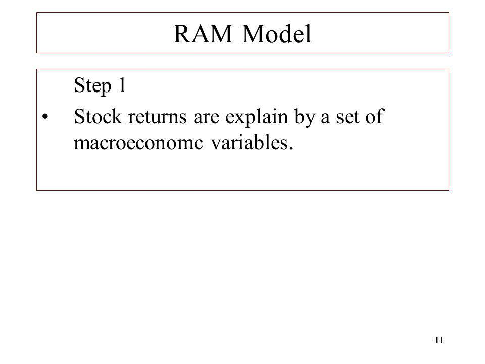 11 RAM Model Step 1 Stock returns are explain by a set of macroeconomc variables.
