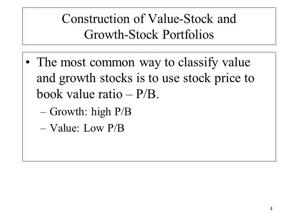 4 Construction of Value-Stock and Growth-Stock Portfolios The most common way to classify value and growth stocks is to use stock price to book value