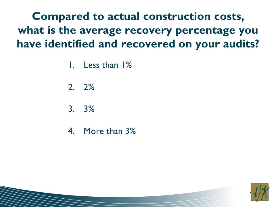 Compared to actual construction costs, what is the average recovery percentage you have identified and recovered on your audits.