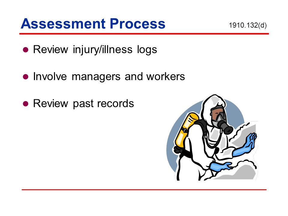 Assessment Process Review injury/illness logs Involve managers and workers Review past records 1910.132(d)