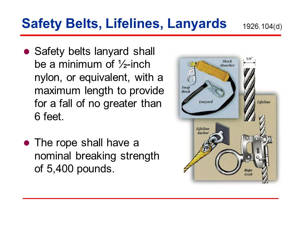 Safety Belts, Lifelines, Lanyards Safety belts lanyard shall be a minimum of ½-inch nylon, or equivalent, with a maximum length to provide for a fall
