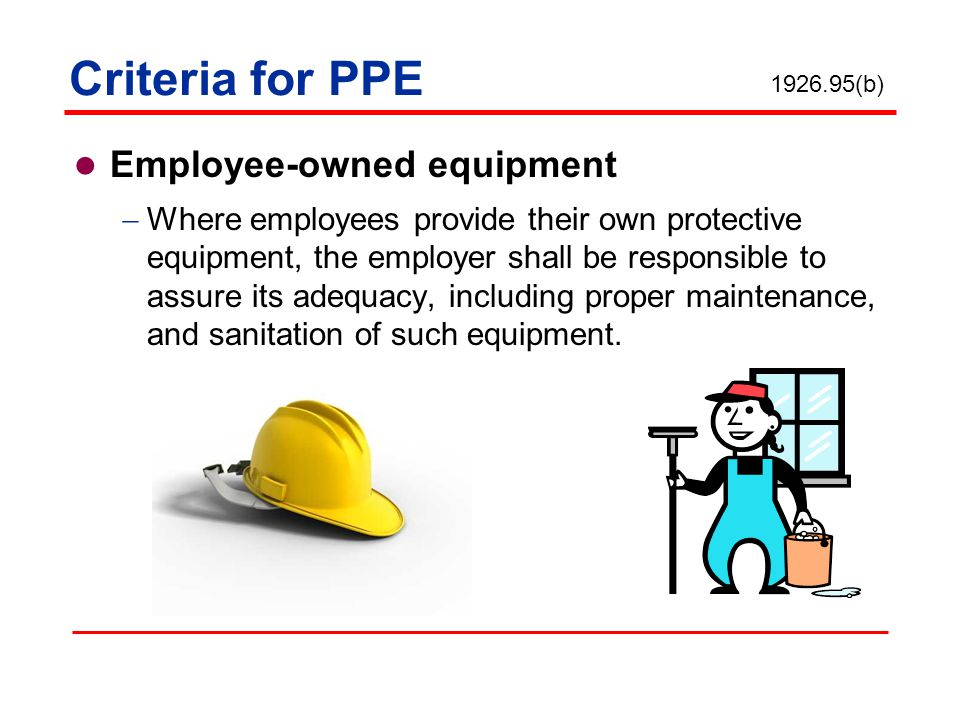 Criteria for PPE Employee-owned equipment Where employees provide their own protective equipment, the employer shall be responsible to assure its adeq