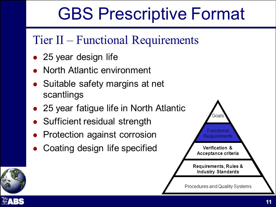 GBS Prescriptive Format Tier II – Functional Requirements 25 year design life North Atlantic environment Suitable safety margins at net scantlings 25 year fatigue life in North Atlantic Sufficient residual strength Protection against corrosion Coating design life specified Procedures and Quality Systems Requirements, Rules & Industry Standards Verification & Acceptance criteria Functional Requirements Goals 11