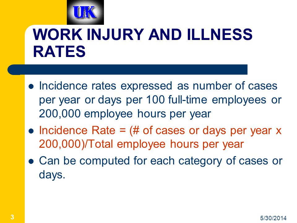 5/30/2014 3 WORK INJURY AND ILLNESS RATES Incidence rates expressed as number of cases per year or days per 100 full-time employees or 200,000 employee hours per year Incidence Rate = (# of cases or days per year x 200,000)/Total employee hours per year Can be computed for each category of cases or days.