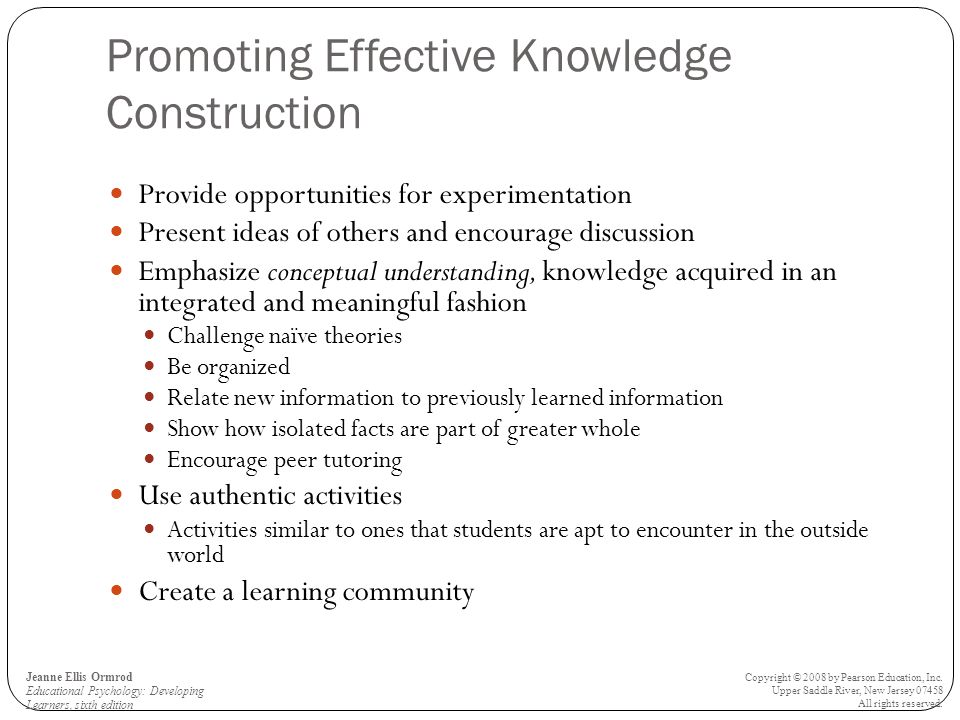 Promoting Effective Knowledge Construction Provide opportunities for experimentation Present ideas of others and encourage discussion Emphasize concep