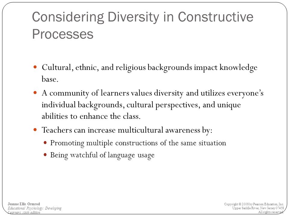 Considering Diversity in Constructive Processes Cultural, ethnic, and religious backgrounds impact knowledge base.