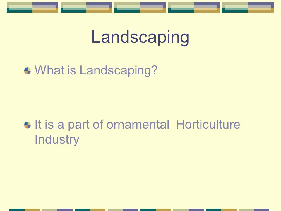 Landscaping This Chapter focuses on three main things: 1 st the Landscape Design: this deal with planning of the landscape project 2 nd is the installation and or construction of the project.