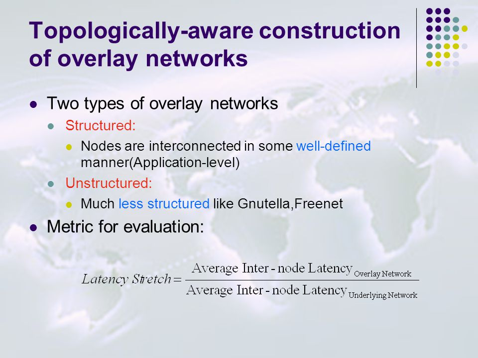 Topologically-aware construction of overlay networks Two types of overlay networks Structured: Nodes are interconnected in some well-defined manner(Ap