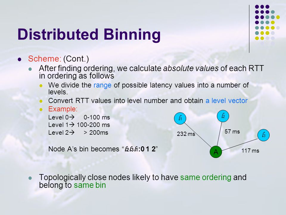 Distributed Binning Scheme: (Cont.) After finding ordering, we calculate absolute values of each RTT in ordering as follows We divide the range of pos