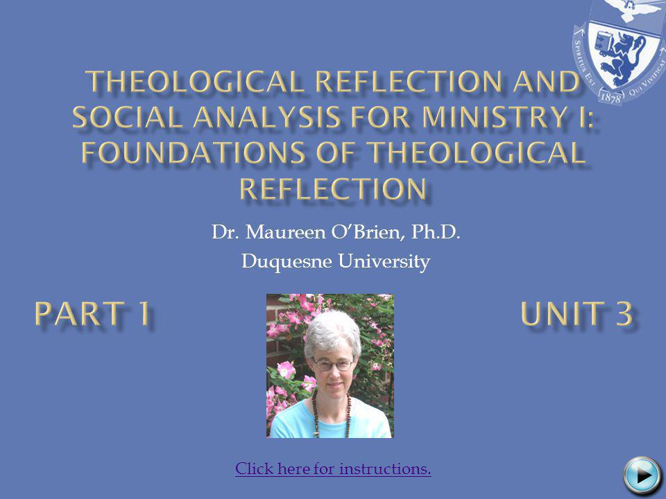 Dr. Maureen OBrien, Ph.D. Duquesne University Click here for instructions.