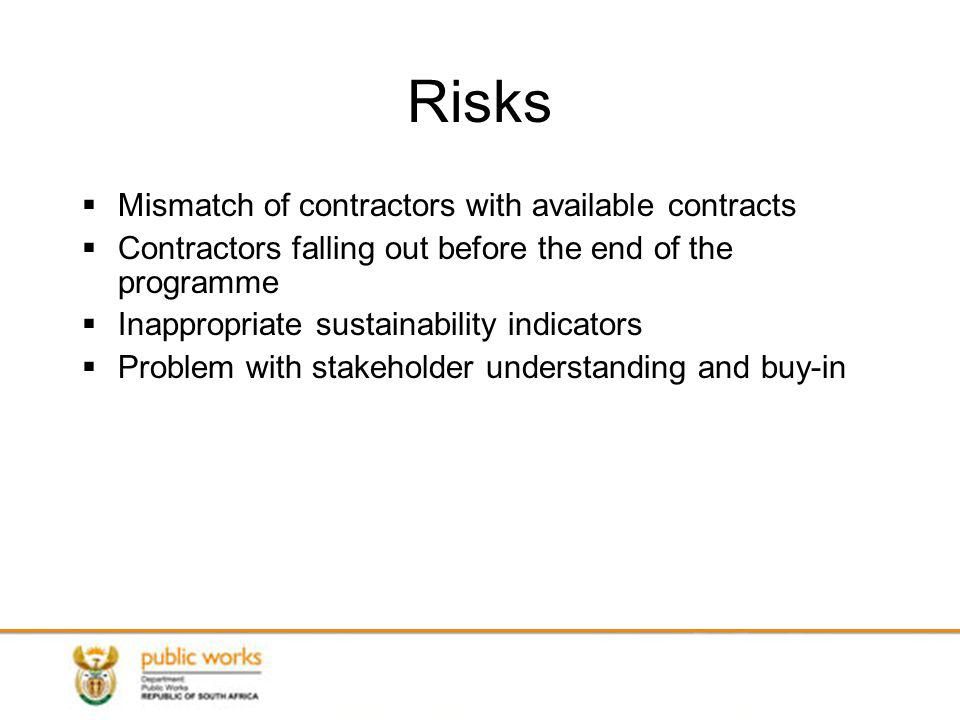 Risks Mismatch of contractors with available contracts Contractors falling out before the end of the programme Inappropriate sustainability indicators Problem with stakeholder understanding and buy-in