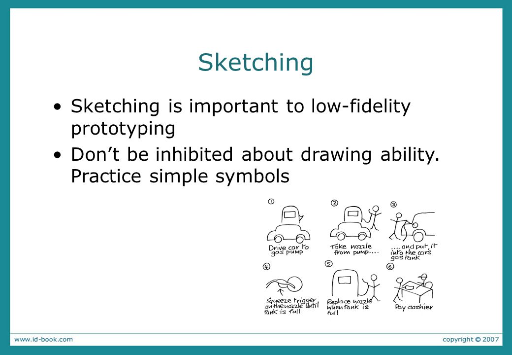 Sketching Sketching is important to low-fidelity prototyping Dont be inhibited about drawing ability. Practice simple symbols