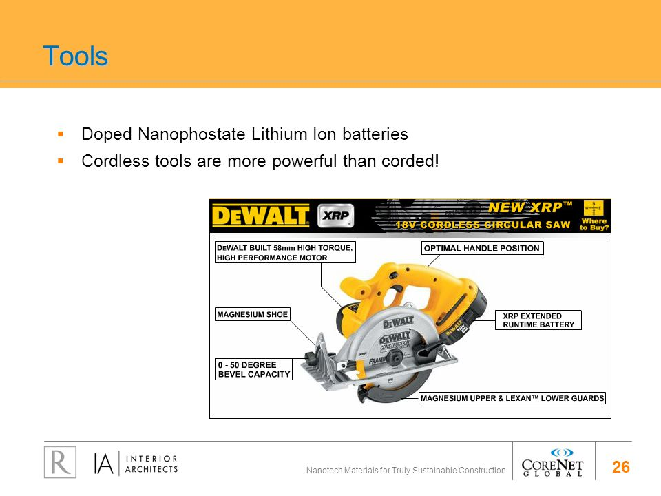 26 Nanotech Materials for Truly Sustainable Construction Tools Doped Nanophostate Lithium Ion batteries Cordless tools are more powerful than corded!